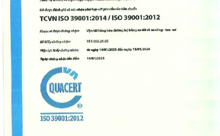 Vinafco nhận chứng nhận TCVN ISO 39001:2014